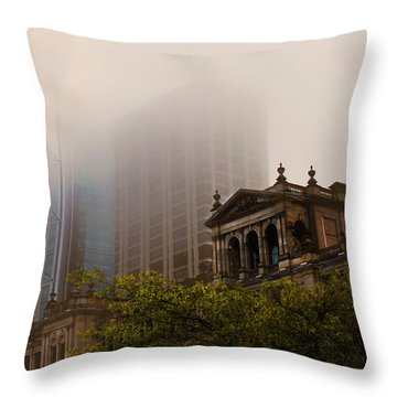 Morning Fog Over The Treasury Throw Pillow