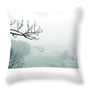Throw Pillow featuring the photograph Morning Fog - Winter In Switzerland by Susanne Van Hulst