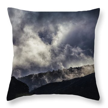 Morning Fog,mist And Cloud On The Moutain By The Sea In Californ Throw Pillow