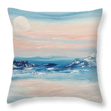 Morning Full Moon Throw Pillow