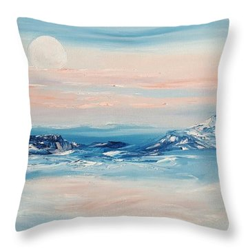 Morning Full Moon Throw Pillow