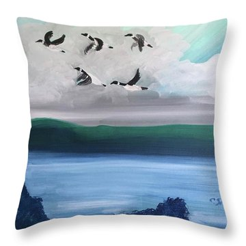 Morning Geese Throw Pillow