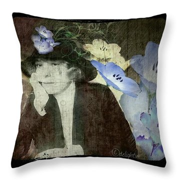 Throw Pillow featuring the digital art Morning Glories by Delight Worthyn