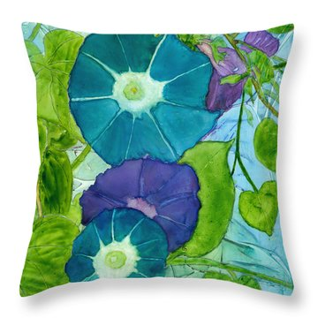 Morning Glories In Watercolor On Yupo Throw Pillow