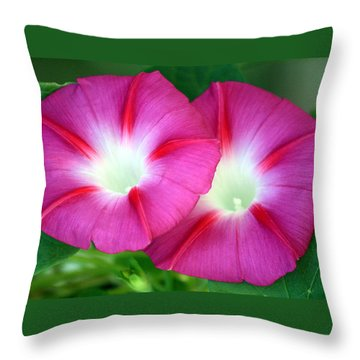 Throw Pillow featuring the photograph Morning Glories by Sheila Brown
