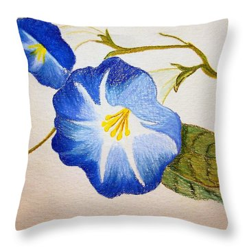 Morning Glory Throw Pillow by J R Seymour