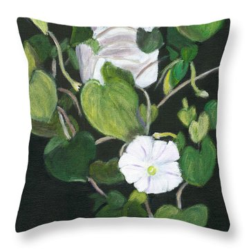 Throw Pillow featuring the painting Morning Glory by Linda Feinberg