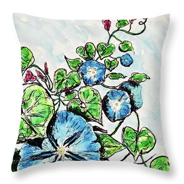 Throw Pillow featuring the painting Morning Glory by Monique Faella