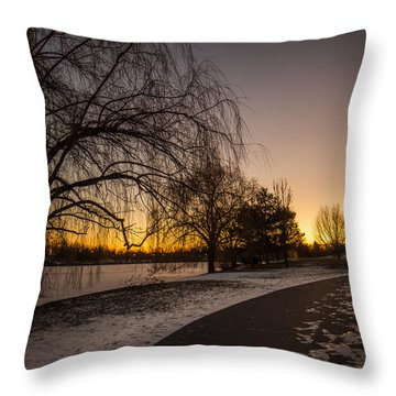 Morning Glow Along Hoyt Lake Throw Pillow by Chris Bordeleau
