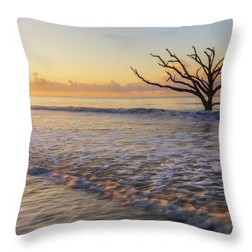 Morning Glow At Botany Bay Beach Throw Pillow
