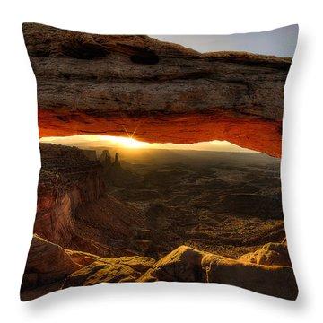 Morning Glow At Mesa Arch Throw Pillow