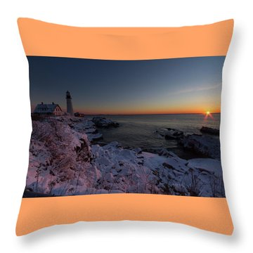 Morning Glow At Portland Headlight Throw Pillow