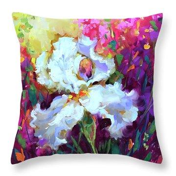 Morning Glow Iris Throw Pillow by Nancy Medina