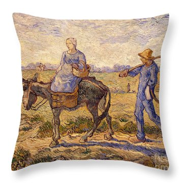 Morning Going Out To Work Throw Pillow by Vincent Van Gogh