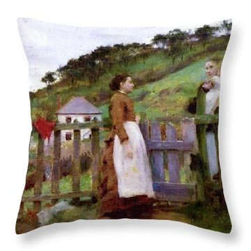 Throw Pillow featuring the painting Morning Gossip by Henry Scott Tuke
