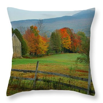 Morning Grove - New England Fall Monadnock Farm Throw Pillow by Jon Holiday