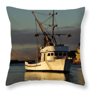 Morning Harbor Light Throw Pillow