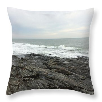 Morning Horizon On The Atlantic Ocean Throw Pillow by Patricia E Sundik