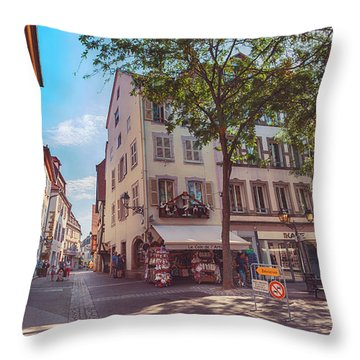 Throw Pillow featuring the photograph morning in Colmar, old medieval town in Alsace region in France by Ariadna De Raadt