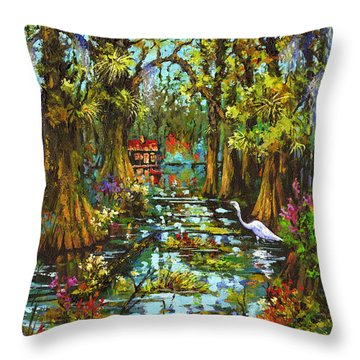 Morning In The Swamp Throw Pillow by Dianne Parks