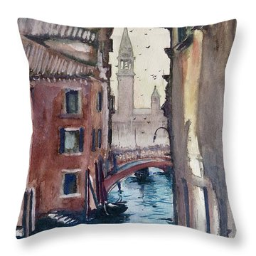 Throw Pillow featuring the painting Morning In Venice by Geni Gorani