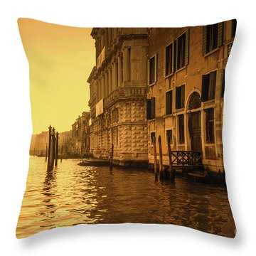 Morning In Venice Sepia Throw Pillow