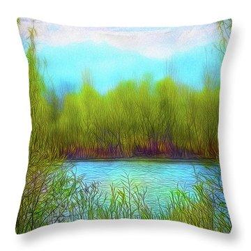Morning Lake In Stillness Throw Pillow
