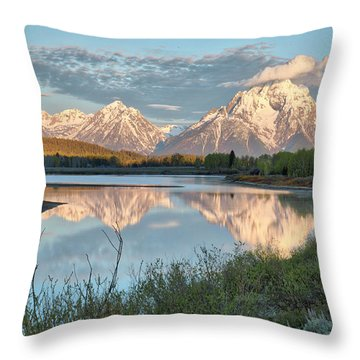 Morning Light At Oxbow Bend Throw Pillow