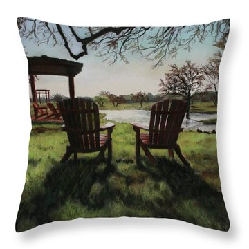 Morning Light At The Vineyard Florence Texas Throw Pillow by Kelly Borsheim