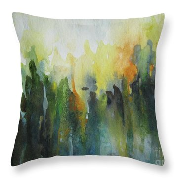 Throw Pillow featuring the painting Morning Light by Elena Oleniuc