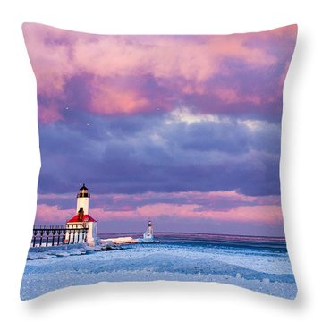 Morning Light In Michigan City Throw Pillow