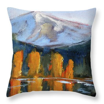 Throw Pillow featuring the painting Morning Light Mountain Landscape Painting by Nancy Merkle
