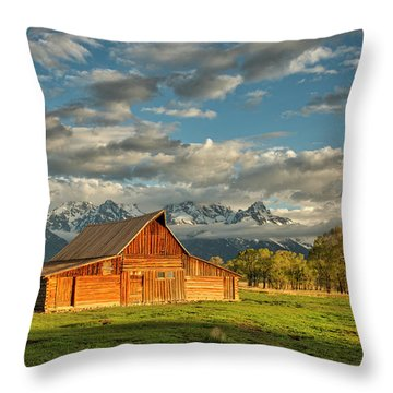 Throw Pillow featuring the photograph Morning Light On Moulton Barn #2 by Joe Paul