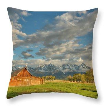 Morning Light On Moulton Barn Throw Pillow