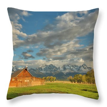 Morning Light On Moulton Barn Throw Pillow