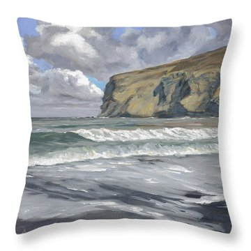 Throw Pillow featuring the painting Morning Light On Pencannow Point by Lawrence Dyer