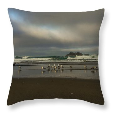 Morning Light On The Beach Throw Pillow