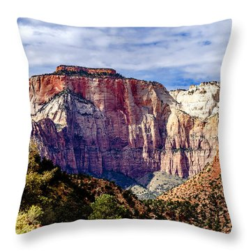Morning Light On Zion's West Temple Throw Pillow