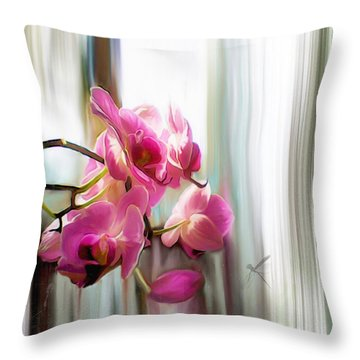 Morning Light Orchids Throw Pillow