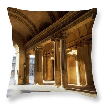 Throw Pillow featuring the photograph Morning Lights At The Louvre Museum by Ivy Ho