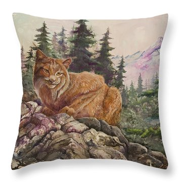 Morning Lynx Throw Pillow