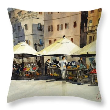Morning Market Throw Pillow