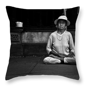 Morning Meditation At Toronto City Hall Throw Pillow