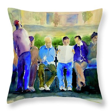 Morning Meeting In Portsmouth Square Throw Pillow