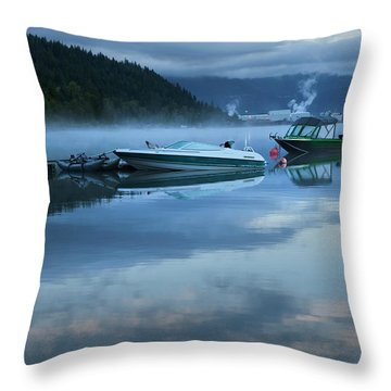 Morning Mist Adams Lake Throw Pillow by Theresa Tahara