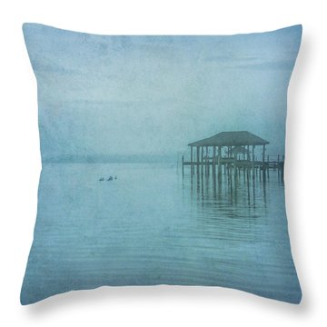 Throw Pillow featuring the digital art Morning Mist In Blue by Randy Steele