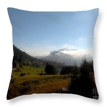 Morning Mist In The Magical Valley Throw Pillow