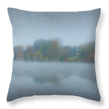 Morning Mist On Langwater Pond Throw Pillow