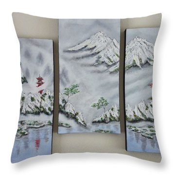 Morning Mist Triptych Throw Pillow