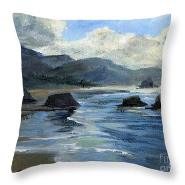 Morning Mists Oregon Coast Throw Pillow by Randy Sprout